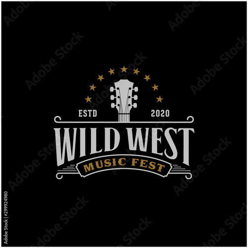 Obraz Country Guitar Music Western Vintage Retro Saloon Bar Cowboy logo design - fototapety do salonu