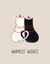 Hand Drawn Card, Banner With Cute Cats In Santa Claus Hats, Garland, Snowflakes, Text Warmest Wishes. Vector Illustration. Line Drawing. Isolated Objects. Design Concept For Christmas Print, Invite.