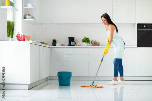 Tela Profile side full size photo of positive cheerful girl having mop washing floor