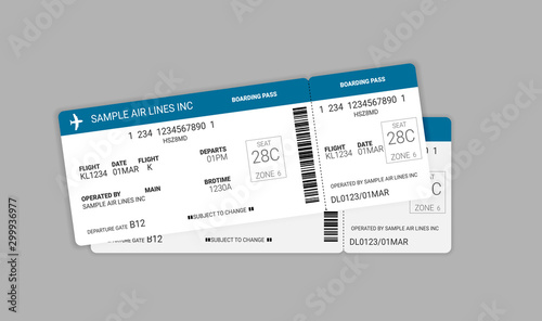 Modern and realistic airline ticket design Canvas Print