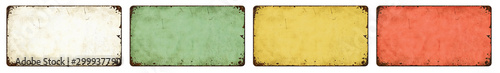 Foto op Canvas Retro Four empty vintage tin signs on a white background