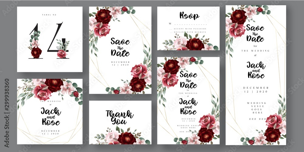 Fototapeta Burgundy Wedding Invitation Card, with decorative floral bouquet and marsala  arrangments