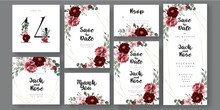 Burgundy Wedding Invitation Card, With Decorative Floral Bouquet And Marsala  Arrangments