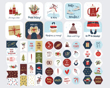 Collection Of Christmas Stickers. Vector Isolated