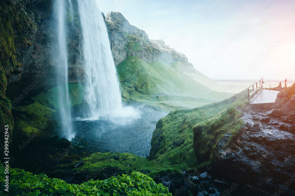 Fototapety, obrazy: Perfect view of powerful Seljalandsfoss waterfall in sunlight. Location place Iceland, Europe.