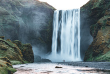 Powerful Stream Of The Famous Skogafoss Waterfall. Location Place Skoga River, Iceland, Europe.