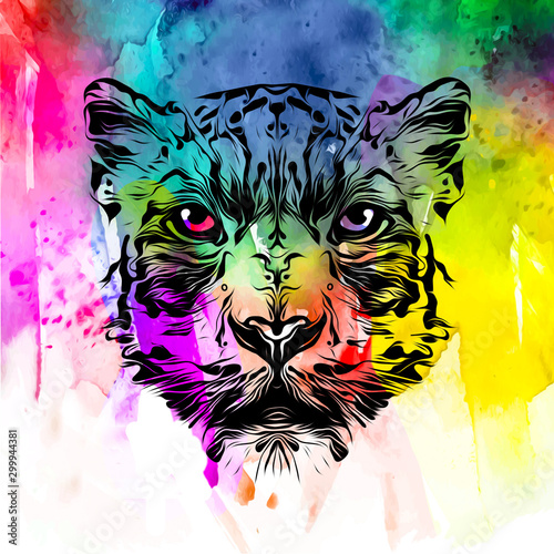 colored artistic lioness on black background