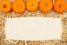 Beige Straw Hay Background With Pumpkins