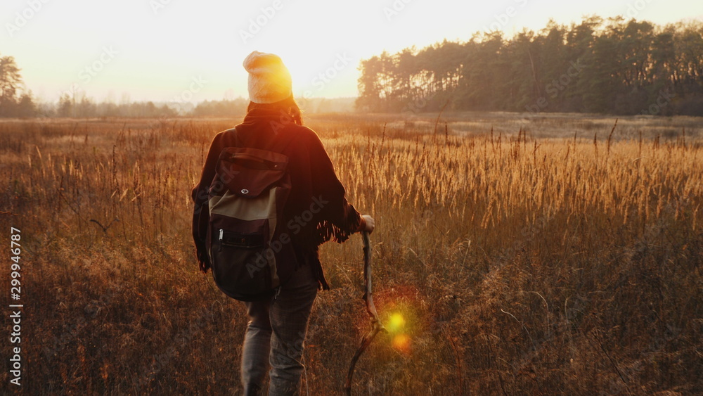 Fototapety, obrazy: Rear view of a female hiker with a backpack walks along meadow among dry grass at sunset