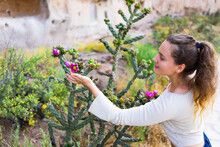 Young Girl Happy Woman Touching Cane Cholla Cactus Vivid Pink Flower On Main Loop Trail In Bandelier National Monument In New Mexico In Los Alamos