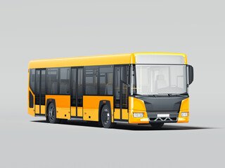 Obraz na płótnie Canvas Modern yellow realistic bus isolated on gray background. 3d rendering. Front view.
