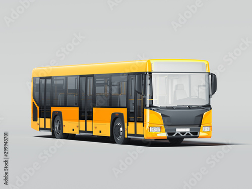 Foto auf Gartenposter Individuell Modern yellow realistic bus isolated on gray background. 3d rendering. Front view.