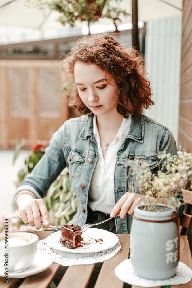 Fototapety, obrazy: woman eating dessert on the terrace