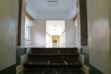 Long Office Corridor In Modern...