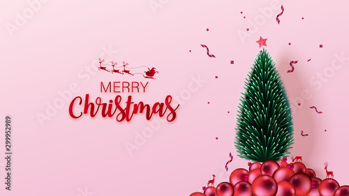 Fototapeta  3D colorful Christmas background with copy-space for your product