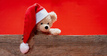 Teddy Bear With Santa Hat, Red Color Background