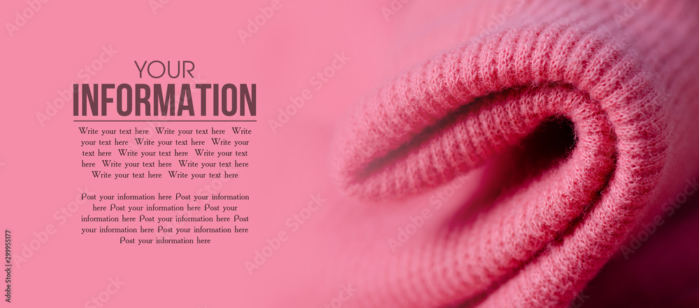 Fototapety, obrazy: Fabric warm pink sweater textile material texture blur background macro, space for text