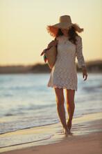 Smiling Elegant Woman On Ocean...
