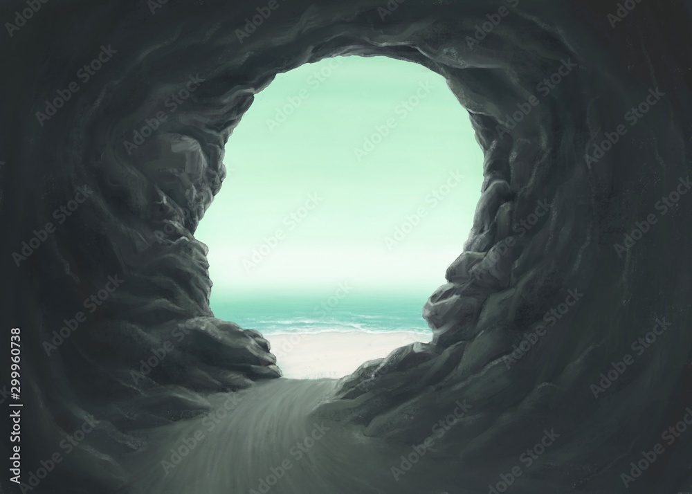 Fototapety, obrazy: Surreal spiritual and freedom concept, Human head cave entrance with the sea, fantasy painting