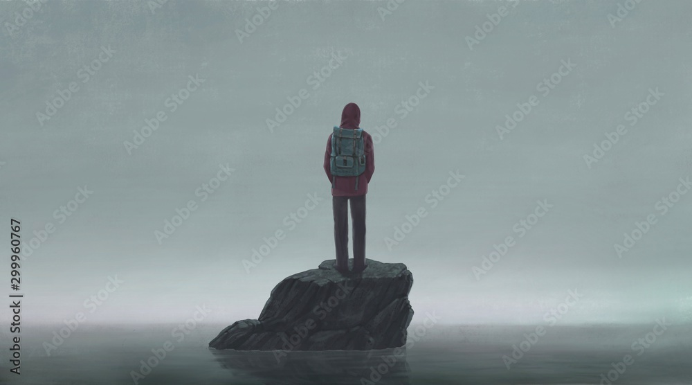 Surreal scene backpacker alone with the sea, lonely concept illustration
