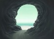 canvas print picture - Surreal spiritual and freedom concept, Human head cave entrance with the sea, fantasy painting