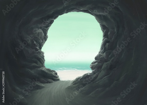 Surreal spiritual and freedom concept, Human head cave entrance with the sea, fantasy painting - 299960738