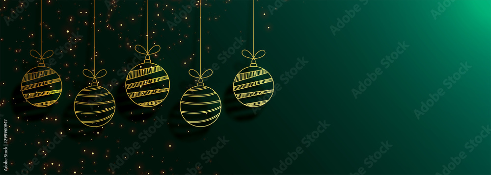 Fototapeta green merry christmas banner with creative golden balls