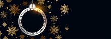 Beautiful Christmas Ball With Golden Snowflakes Black Banner