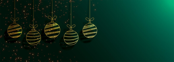 green merry christmas banner with creative golden balls