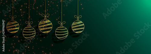 Obraz green merry christmas banner with creative golden balls - fototapety do salonu