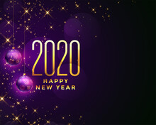 Beautiful Happy New Year 2020 Sparkles Background Design