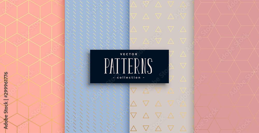 Fototapeta lovely geometric pastel and gold pattern set