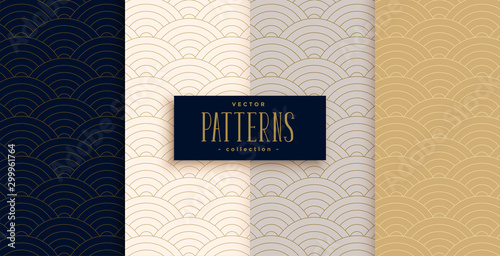 Fototapeta stylish chinese traditional curve lines pattern set obraz