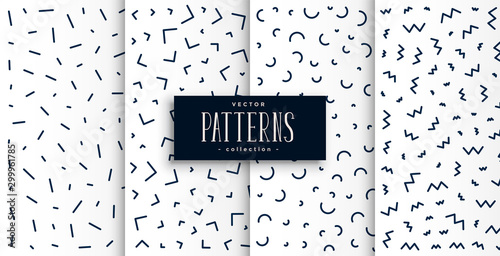 Obraz memphis pattern set in black and white color - fototapety do salonu