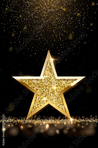 Fototapeta Golden sparkling star isolated on dark vertical luxury background. Vector design element. obraz na płótnie