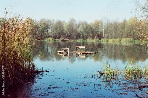 Fototapeten Natur river in the village