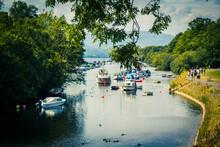 Scenic View Of Balloch Harbour Near Loch Lomond With Boats On River Leven In Scotland, UK.