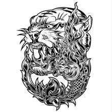 Tiger Naga Thailand Tattoo Dra...