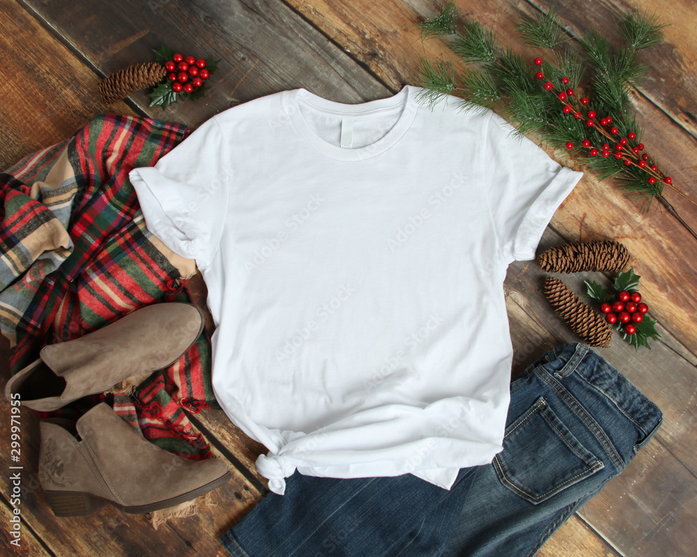 Fototapety, obrazy: Flat lay mockup of white tshirt with Christmas accessories