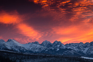 Amazing sunset in Lapszanka with a view to Tatra Mountains in Poland