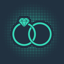 Green Wedding Rings Icon Isola...