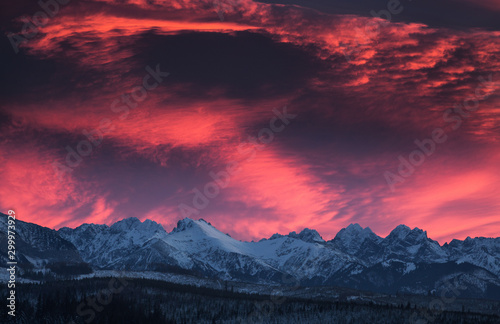 Poster Crimson Amazing sunset in Lapszanka with a view to Tatra Mountains in Poland