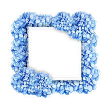 Frame Of Soft Blue Hydrangea On White Background. Hand Drawn Illustration. Wedding Frame. Bouquet Flowers With Blue Petals And Floral Elements.