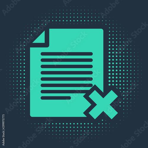 Obraz na plátne  Green Delete file document icon isolated on blue background