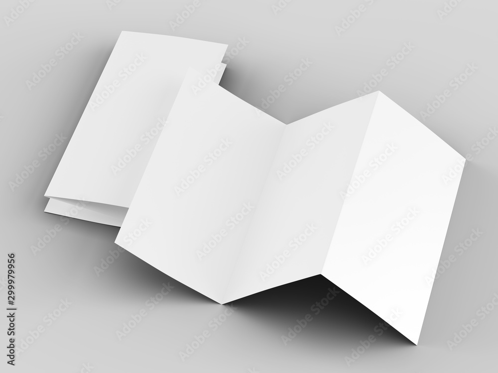 Fototapety, obrazy: Brochure in A4 format folded to three - mockup. 3d illustartion
