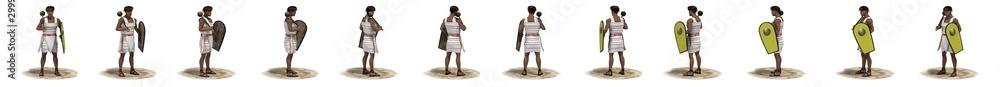 3D rendering, warrior character, illustration