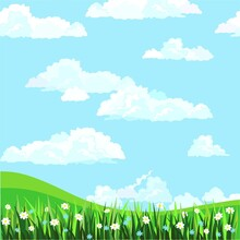 Spring Background, Blue Sky With White Clouds ,green Grass And White Flowers, Cartoon Design