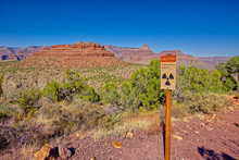 A Warning Sign For Radioactivity From An Abandoned Uranium Mine In The Area Of Horseshoe Mesa At The Grand Canyon.