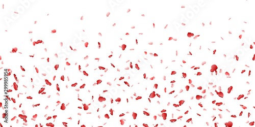 Fotografía  Heart falling confetti isolated white background