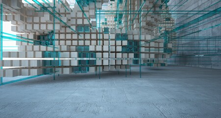 Abstract architectural wood and glass interior from an array of cubes with large windows. 3D illustration and rendering.